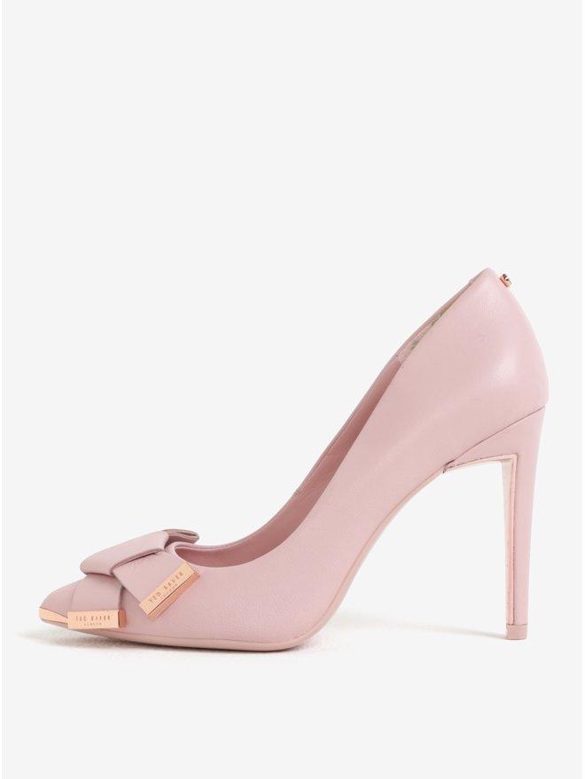 Pantofi stiletto roz din piele naturala cu funda Ted Baker Ayelar