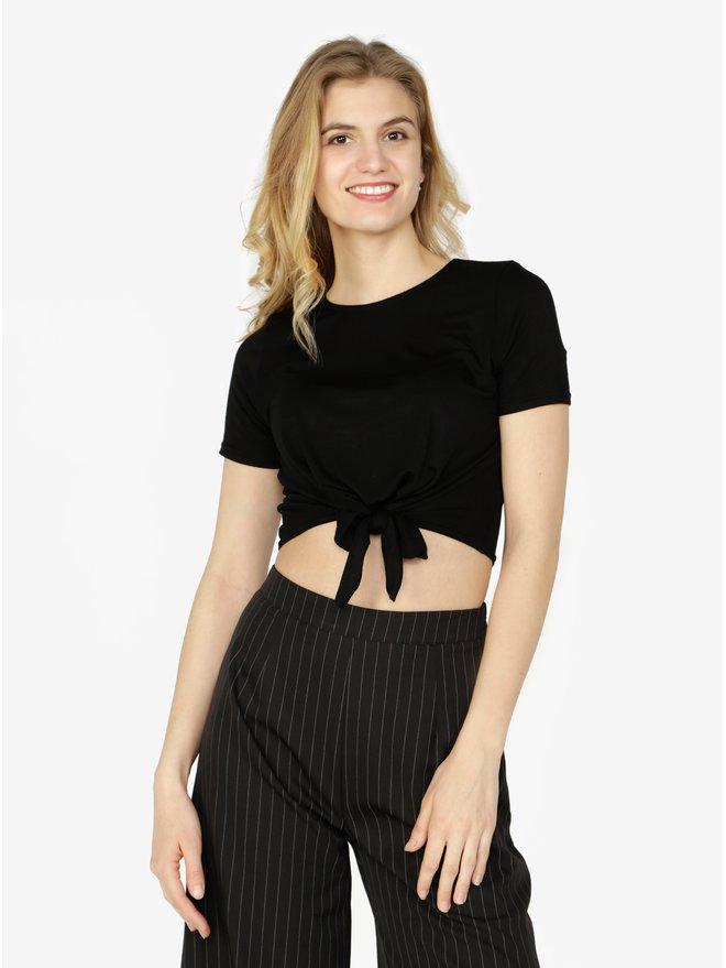 Tricou cropped negru cu nod decorativ Miss Selfridge