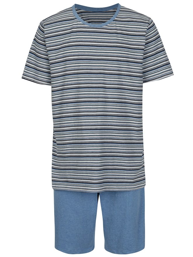 Pijama cu tricou in dungi si pantaloni scurti pentru barbati M&Co