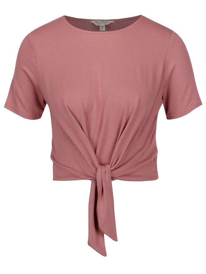 Tricou cropped roz cu nod decorativ - Miss Selfridge