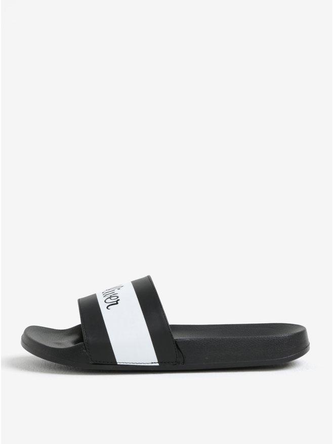 Papuci negri cu dungi si logo pentru barbati - s.Oliver
