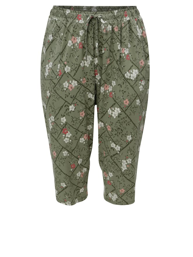 Pantaloni de dama verde crop cu model floral si banda elastica in talie M&Co