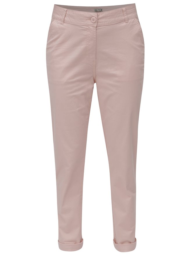 Pantaloni de dama chino roz deschis M&Co