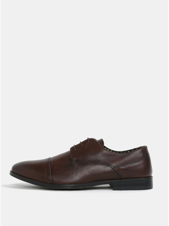 Pantofi barbatesti maro inchis din piele naturala Burton Menswear London