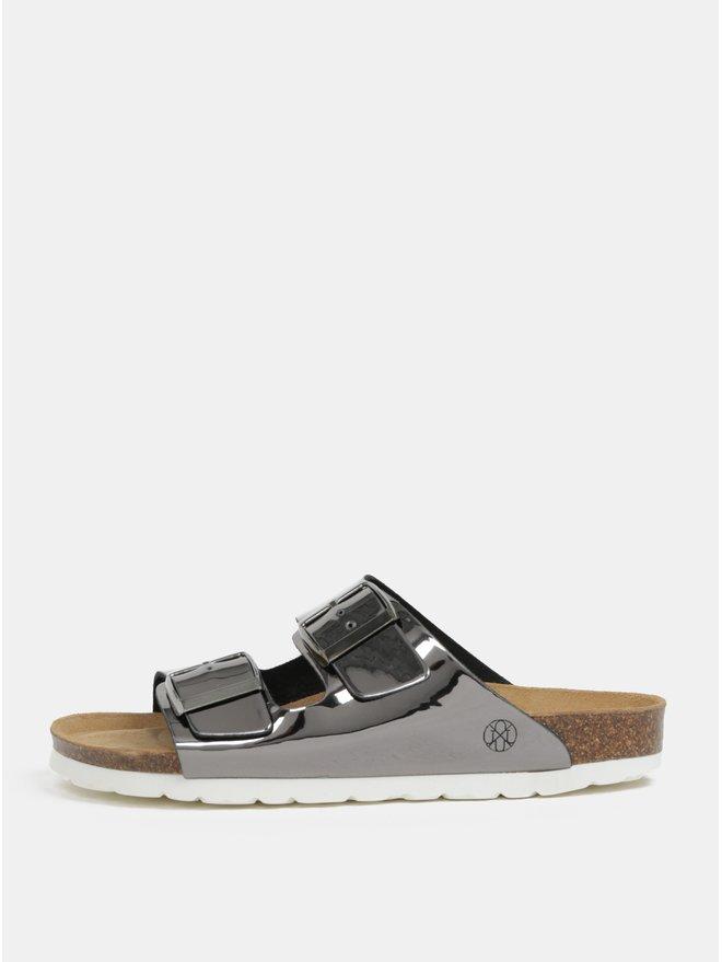 Papuci gri inchis cu aspect metalic pentru femei - OJJU Hawaii