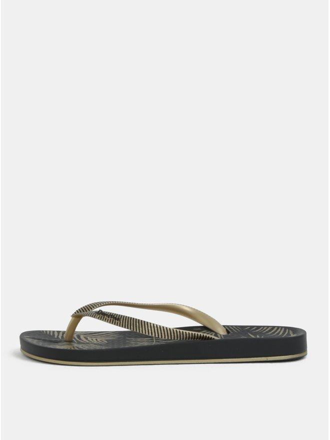 Papuci flip-flop auriu-negru cu model Ipanema Anat