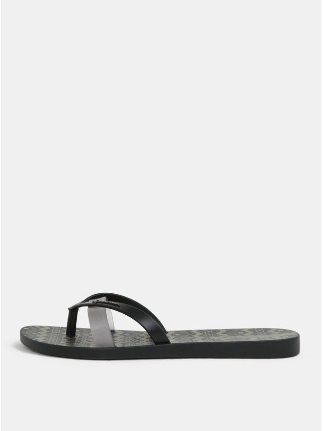 Papuci flip-flop negri cu model auriu Ipanema Kirei