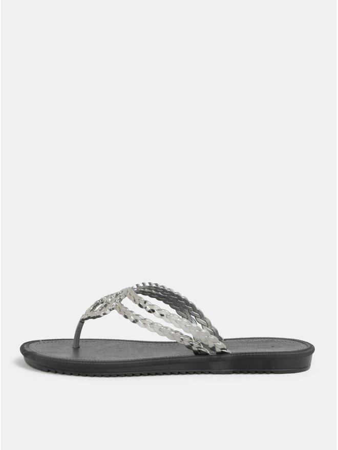 Papuci flip-flop argintiu-negru Grendha Riviera