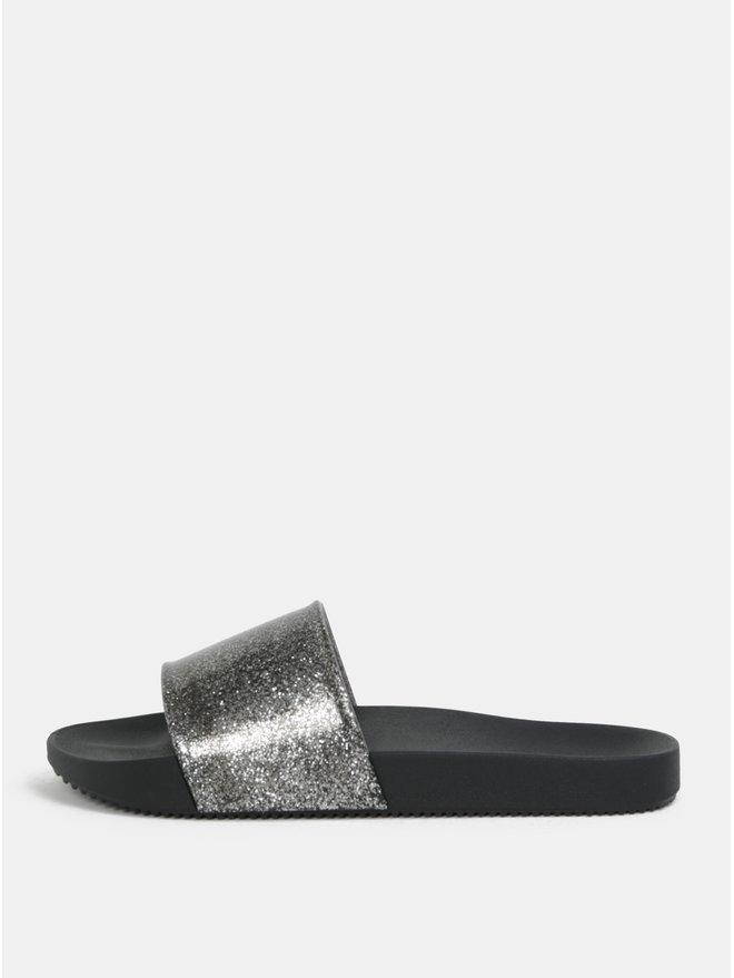 Papuci argintiu-negru cu efect glitter Zaxy Snap Glitter Slide