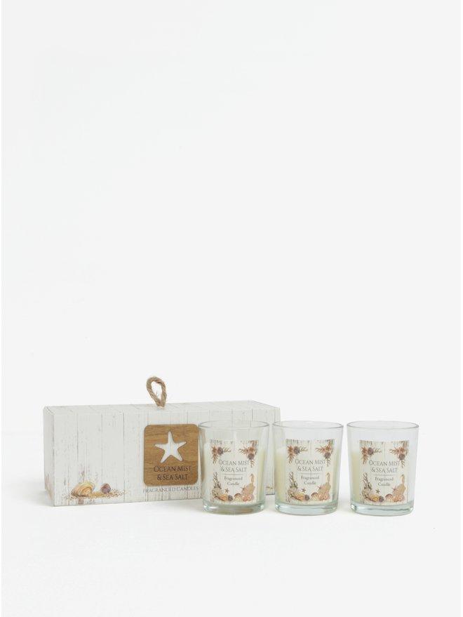 Set de trei lumanari parfumate in suport de sticla si cutie cadou SIFCON