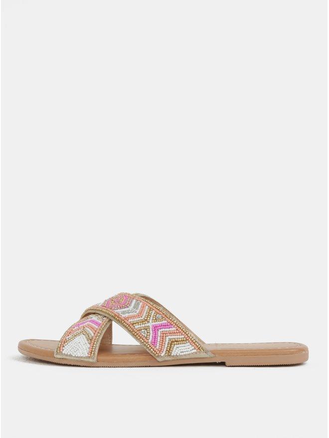 Papuci roz-maro cu margele Dorothy Perkins