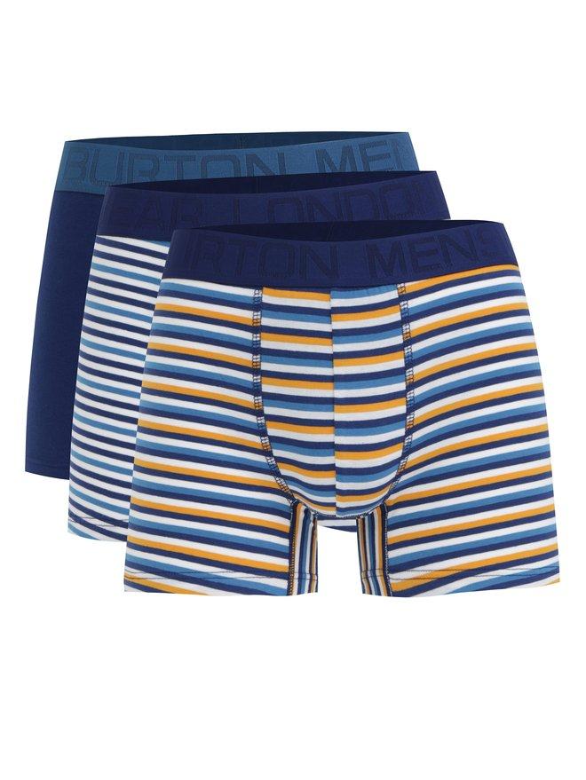 Set de 3 boxeri alb-albastru in dungi Burton Menswear London