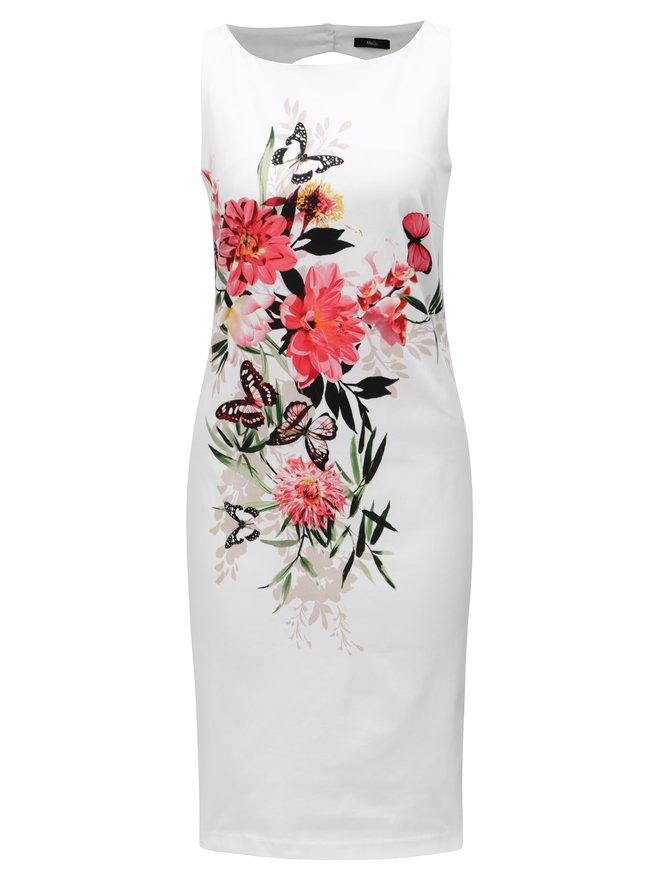 Rochie alba teaca cu model floral M&Co Oriantal
