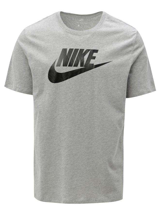 Tricou barbatesc gri melanj cu print Nike