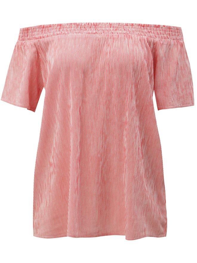 Tricou alb-rosu in dungi cu decolteu pe umeri Blendshe Linne