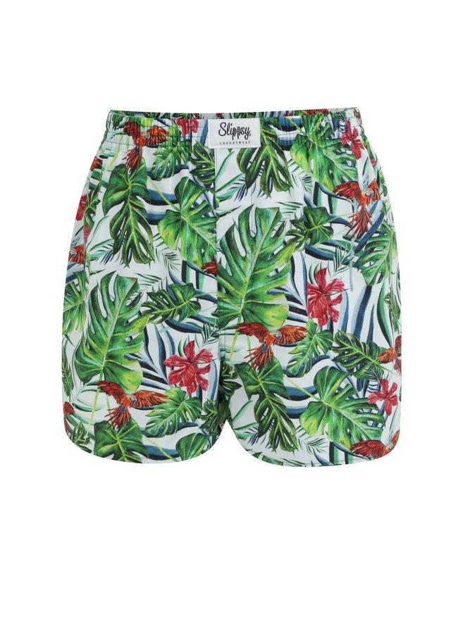 Boxeri barbatesti alb-verde cu model tropical Slippsy Jungle Boy
