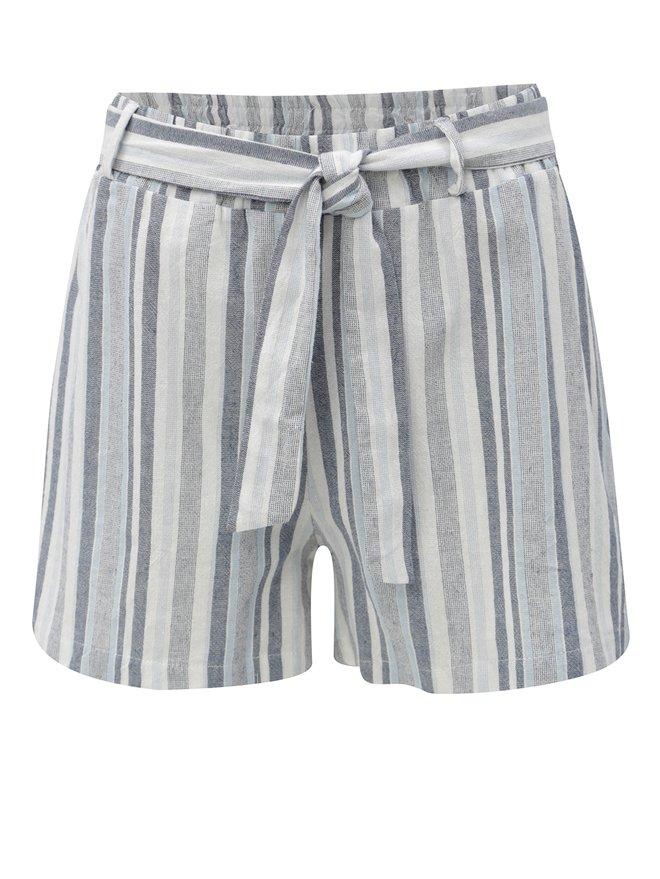 Pantaloni scurti alb-albastru in dungi cu talie inalta Haily´s Alina