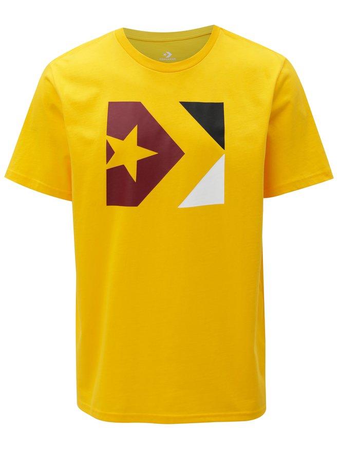 Tricou barbatesc galben cu print Converse Chevron Tri Color