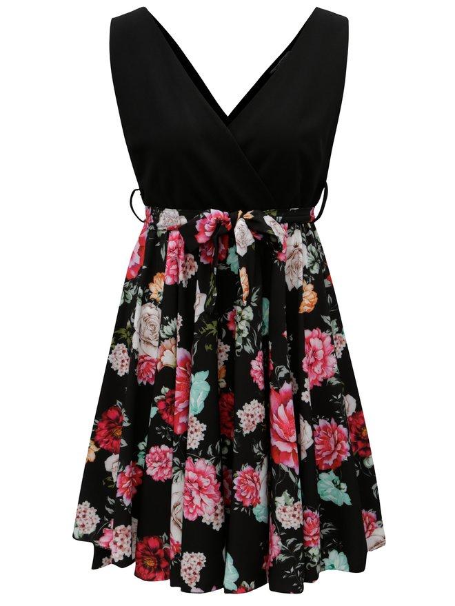 Rochie neagra cu fusta clos cu model floral Haily´s Janna