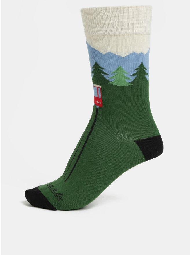 Sosete unisex verde cu model de munti Fusakle Hrebienok