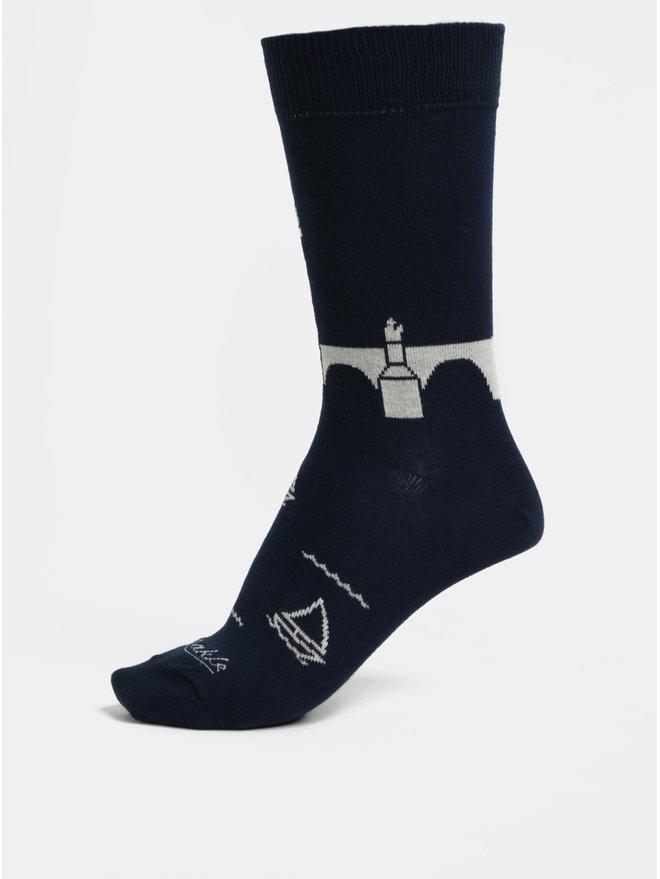 Sosete unisex albastru inchis cu model Fusakle Podul Carol