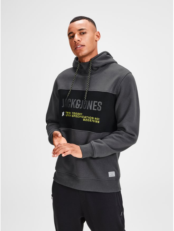 Hanorac gri inchis cu print Jack & Jones Part