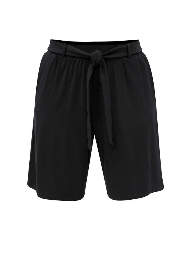 Pantaloni scurti negri cu cordon in talie M&Co