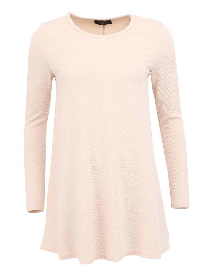 Púdrovo ružové voľné šaty s dlhým rukávom AX Paris