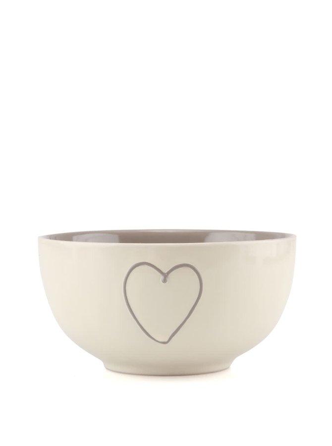 Bol ceramic gri/alb Dakls cu inimă pictată manual