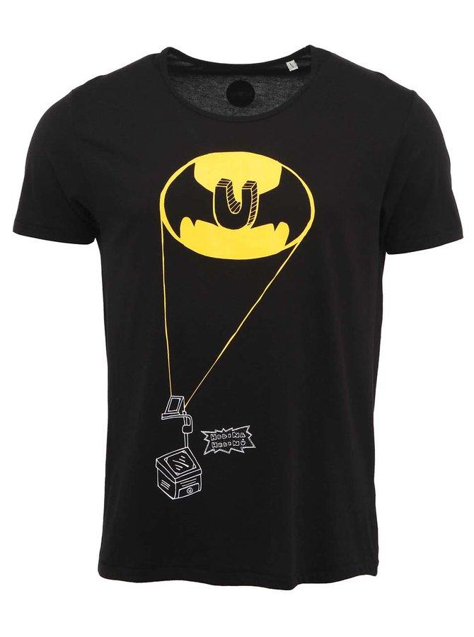 """""""Dobré"""" čierne pánske tričko s potlačou Hodina hrdinov"""