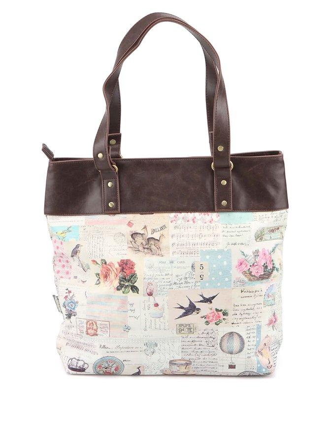 Krémová kabelka s vintage potiskem Disaster Songbird