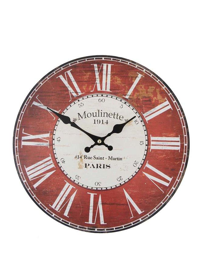 Červené drevené hodiny Dakls