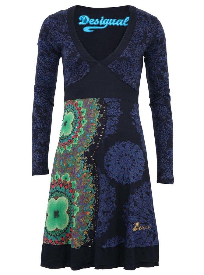 Modré vzorované šaty s dlouhými rukávy Desigual Marsella