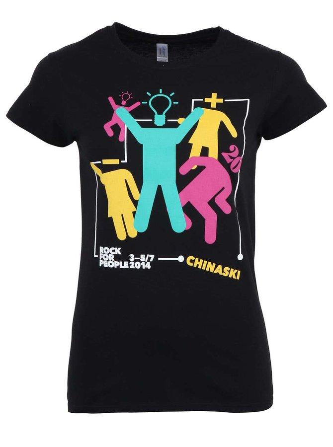 Černé dámské tričko Chinaski ROCK FOR PEOPLE