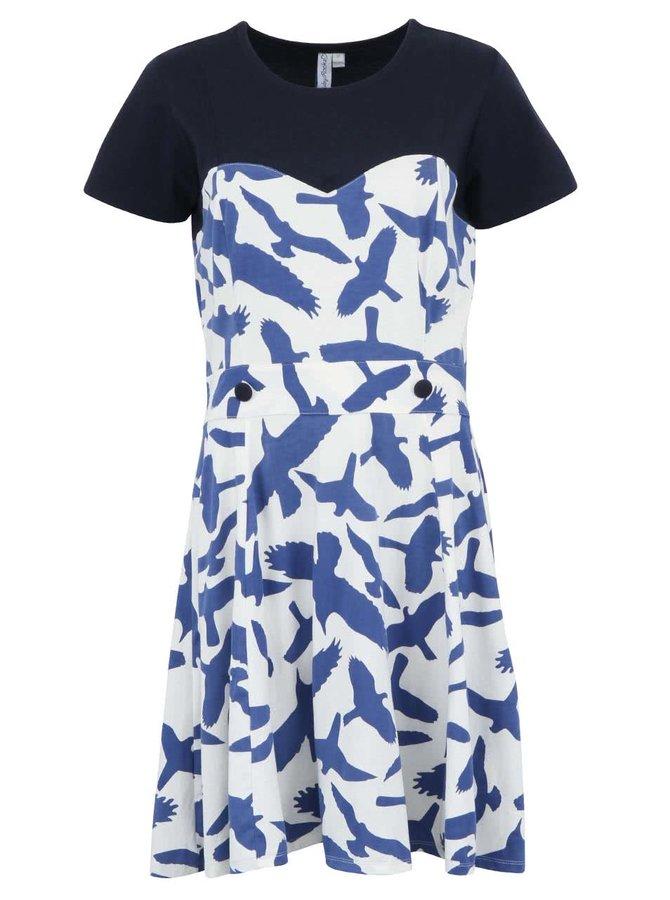 Modré šaty Ruby Rocks s vtáčikmi