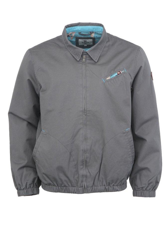 Jachetă bărbătească Bellfield Wilson cu căptușeală cu un motiv provocator pe gri