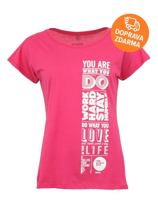 """Dámské růžové """"dobré"""" triko Jeden svět Pozitivní"""