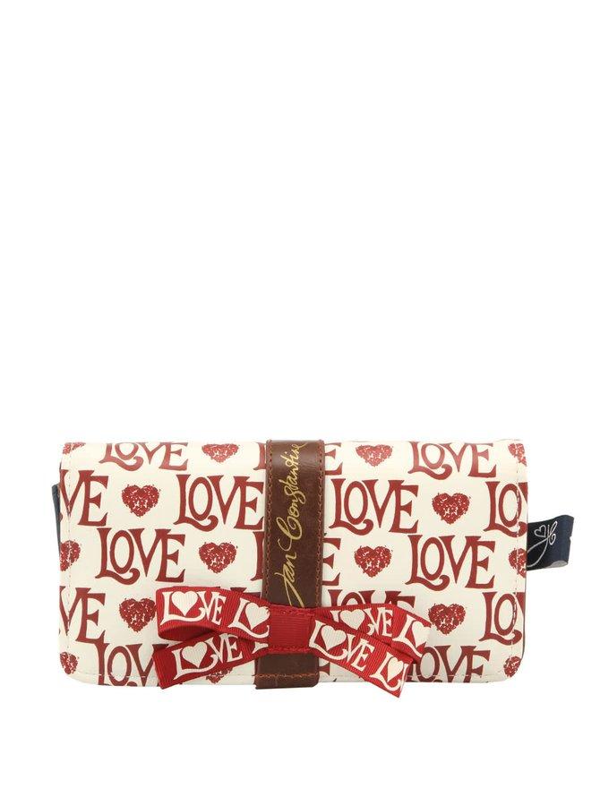 Krémová peňaženka s nápismi LOVE Disaster