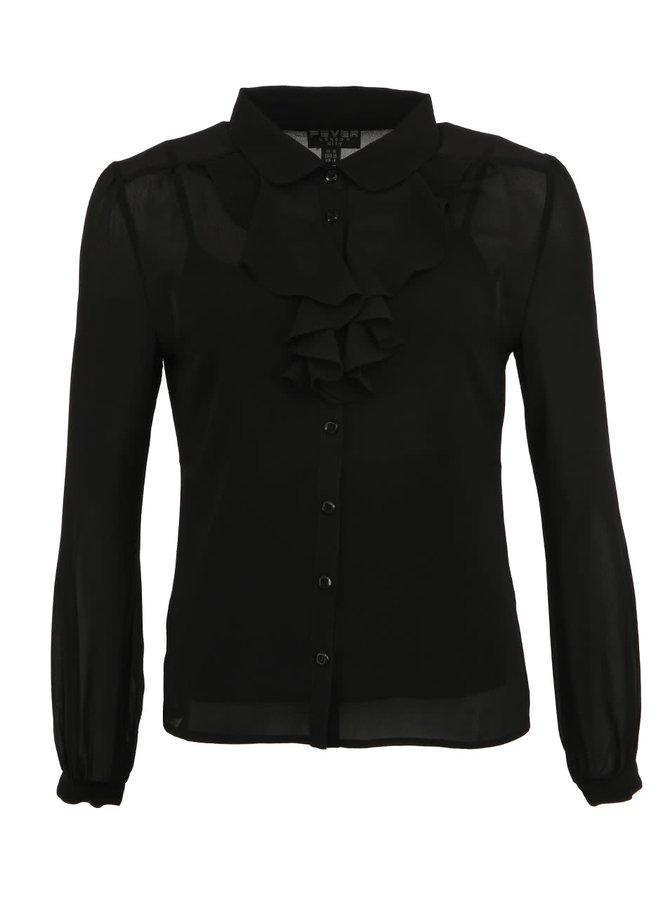 Černá košile Fever London Oklahoma s fiží