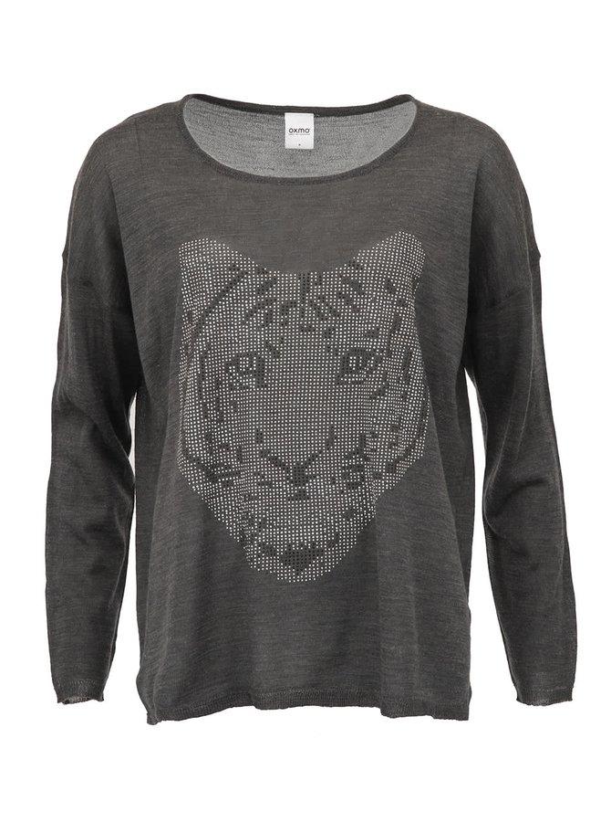 Tmavě šedé tygří tričko s dlouhým rukávem Oxmo