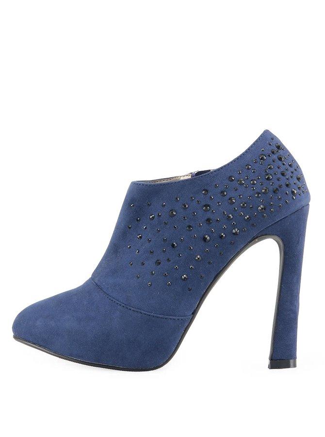 Modré sexi topánky Victoria Delef s kamienkami