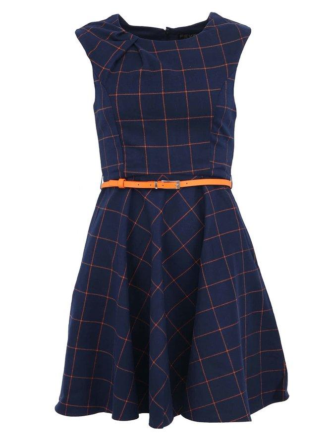 Tmavomodré kockované šaty s opaskom Fever London Kasparov