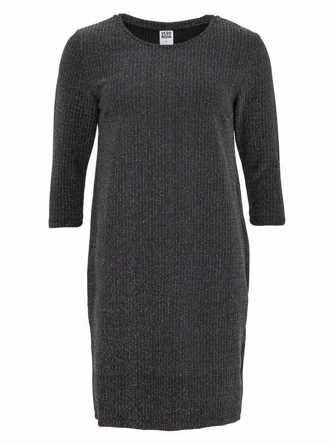 Čierne trblietavé šaty Vero Moda Polly