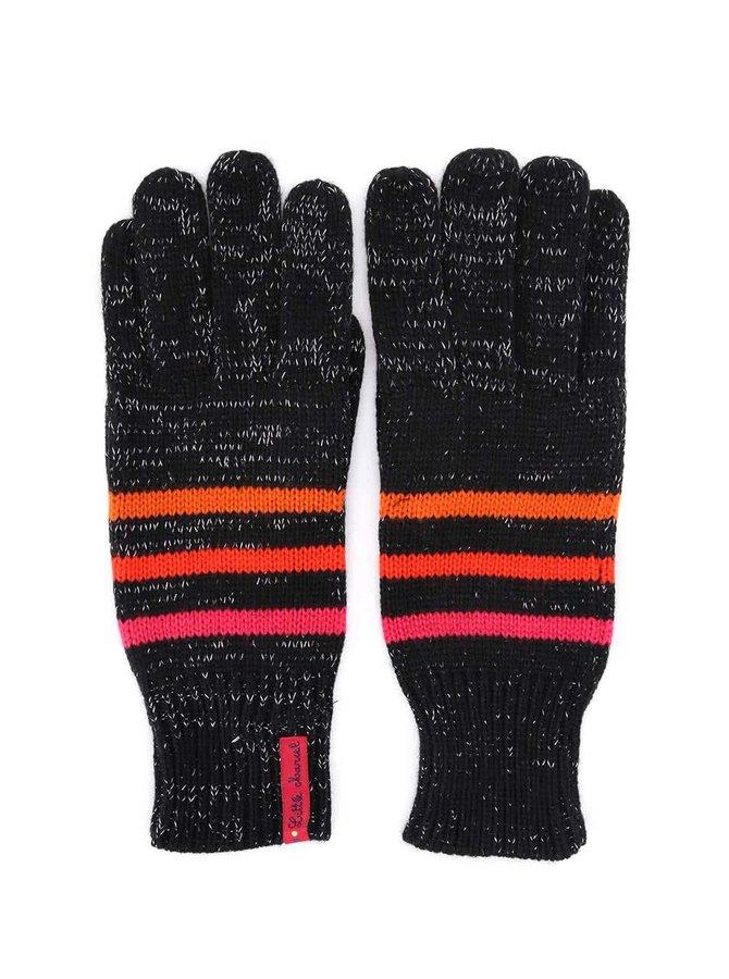 Čierne pruhované rukavice pretkané striebornou niťou Little Marcel Gepinao