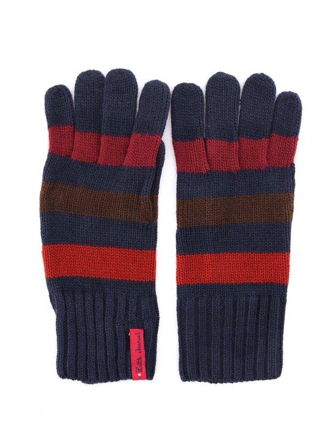Tmavomodré rukavice s farebnými pruhmi Little Marcel Gabi
