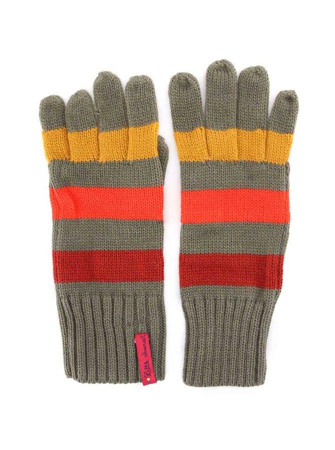 Zelené rukavice s farebnými pruhmi Little Marcel Gabi