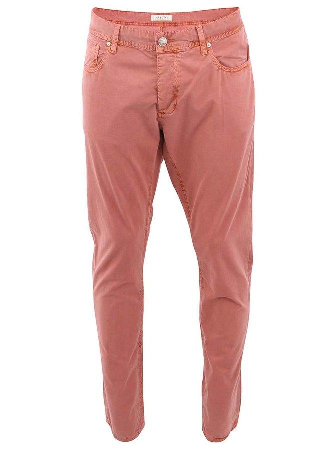 Oranžovorůžové skinny kalhoty Selected Two Rio