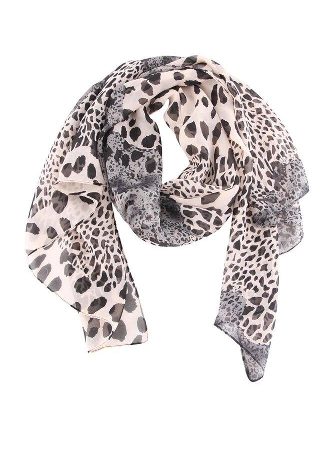 Černo-béžový šátek s leopardím vzorem Gionni