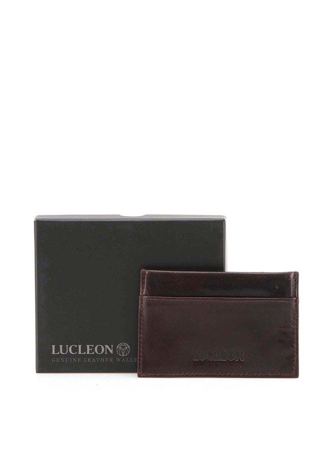 Tmavo hnedý kožený vizitkár Lucleon Lumber