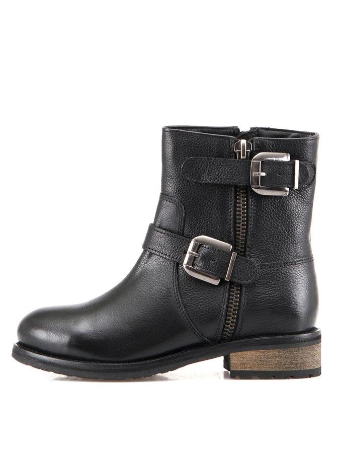Černé kožené kotníkové boty s pásky Rule One London Verne